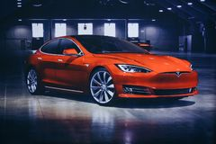 Photo of the image of an electric vehicle Tesla at the Tesla motor show in Berlin. A modern electric car. Berlin, August 29, 2018: Photo of the image of an royalty free stock image