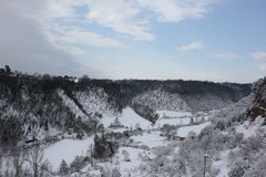 Snowy landscape. Photo Image with sky and snowy landscape Royalty Free Stock Photos