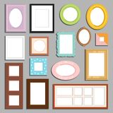 Photo or image wall and table decorative frame template vector. Picture frame museum interior exhibition decorative vector. Photo art gallery on vintage antique Royalty Free Stock Photo