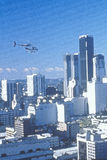 Photo impression of helicopter flying over downtown Los Angeles, California Stock Image