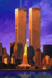 Photo Impression: World Trade Center behind Statue of Liberty Royalty Free Stock Images