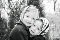 Free Photo In Retro Style. Cute Little Girls (sisters 3 And 4 Years) Stock Photography - 68316622