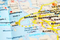A photo of Incheon on a map stock photo
