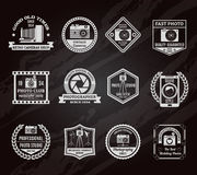 Photo Industry Chalkboard Emblems Set. With old and modern digital equipment symbols flat isolated vector illustration vector illustration