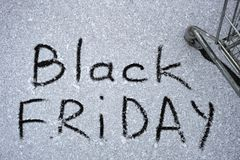Photo of the inscription on the snow Black Friday. An inscription on the snow is about approaching black Friday Royalty Free Stock Photos