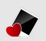 Photo instantanée blanc de vecteur avec le vecteur de coeur Photos stock