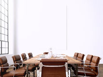 Photo interior modern meeting room with panoramic windows.Blank White Canvas on Wall and Generic Design Armchair in Stock Photos