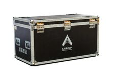 Photo of a isolated road case or flight case with reinforced metal corners and wheels. Clipping path included. royalty free stock photo