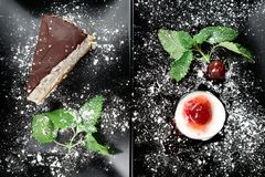Photo of italian panna cotta dessert with strawberry sirup and cake with nuts and chocolate on the black plate on dark. Wooden background Stock Image