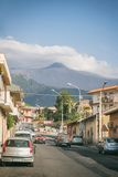 Photo of italian street with view on Etna Stock Images