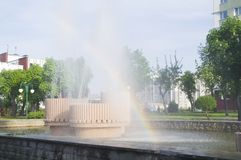 Jet fountain on a hot day. Byelorussia Royalty Free Stock Photos