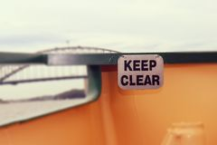 Ferry keep Clear sing and harbour bridge Sydney Royalty Free Stock Photography