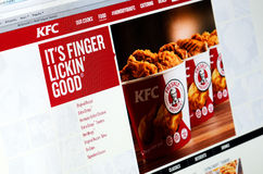Photo of KFC homepage on a monitor screen Royalty Free Stock Photos