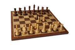 Chess opening. King`s Gambit. Royalty Free Stock Photo