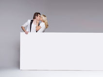 Photo of a kissing young couple Stock Image