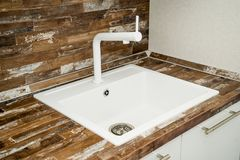 Photo of a kitchen sink royalty free stock photos