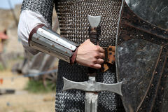 Photo of knight with sword. #2 Royalty Free Stock Photo
