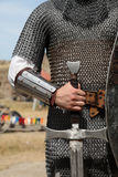 Photo of knight with sword Stock Photo