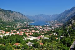 Kotor bay and the city stock images