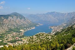 Kotor bay from Lovcen Mountain stock photo