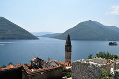 Southern-most european fjord from Perast. Photo of Kotor bay from Perast - Montenegro - July 2010 Royalty Free Stock Photos
