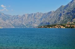 Kotor bay from the sea level. Photo of Kotor bay from the sea level in a sunny day/morning - Kotor - Montenegro - July 2010 stock photography