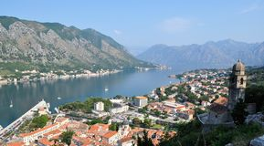 The city and the bay view from the castle. Photo of Kotor city ans bay from San Giovannia Castle - Kotor city - Montenegro - July 2010 stock images