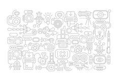 Photo Laboratory Equipment doodle art Stock Images