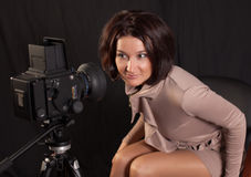 Lady posing for camera Royalty Free Stock Images