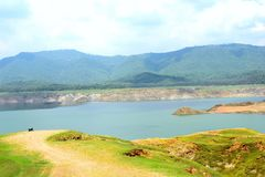 GOVIND SAGAR LAKE IN HIMACHAL PRADESH. IT IS A PHOTO OF A LAKE SITUATED IN HIMACHAL PRADESH IN INDIA. IT IS A HOME FOR LOT OF MIGRATORY BIRDS royalty free stock photo