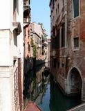 Photo of landscape of a famous city on the water Venice. Photo romantic view of the canal, the old buildings in the famous city of Venice in Italy Royalty Free Stock Photography