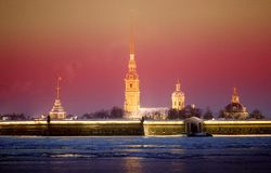 Photo landscape Peter and Paul Fortress. In St. Petersburg Royalty Free Stock Photography