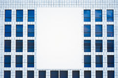 Photo large blank billboard, display on modern skyscraper in center big city for advertising. Horizontal mockup, front Royalty Free Stock Photography