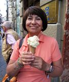 Enjoying an Ice Cream Cone in Florence Italy