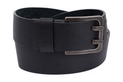 The photo of a leather black belt on a white background  isolate Stock Image