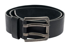 The photo of a leather black belt on a white background  isolate Stock Photos