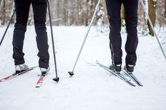 Photo of legs of two skiers Stock Images