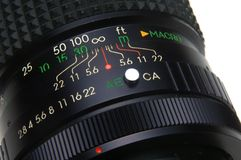 Photo lens. Closeup showing aperture setting stock image