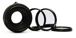 Photo lens. And photo filters on a white background. With shade royalty free stock photos