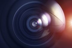 Photo Lens Background. Professional Wide Angle Photo Lens - Lens Glass Closeup Background stock photos