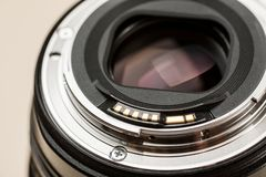 Photo lens with electrical contacts closeup shot.  stock photo