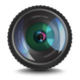 Photo lens icon with an optical flare. Realistic photo lens with place for text on it. Element for photo studios or photograph Royalty Free Stock Photography