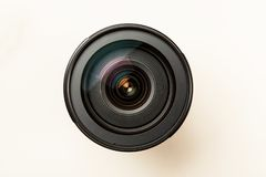 Photo lens with reflection closeup shot, top view.  stock photography