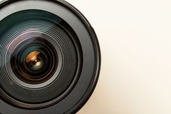 Photo lens with reflection closeup shot, top view, copy space.  royalty free stock photo