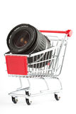 Photo Lens in Shoping Cart Stock Images