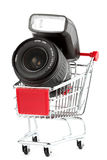 Photo Lens in Shoping Cart Stock Photography