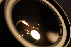 Photo lense with sun reflections. Royalty Free Stock Photos