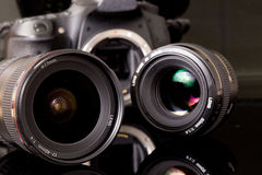 Photo lenses and dsl camera Royalty Free Stock Images