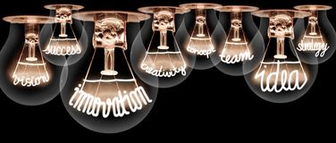 Light Bulbs Concept. Photo of light bulbs with shining fibres in INNOVATION, IDEA, VISION, CONCEPT and CREATIVITY shape on black background stock image