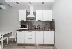Photo of the light kitchen room stock images